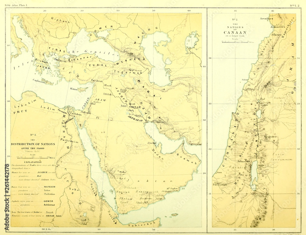 Fototapety, obrazy: Holy land map. The gentile nations