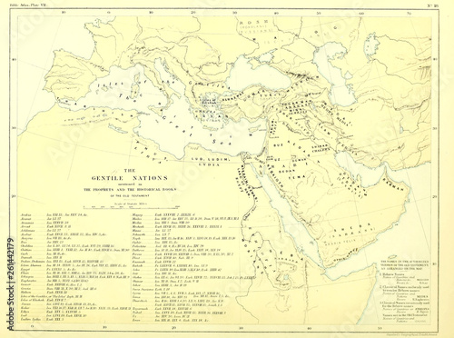 Holy land map. The gentile nations Wallpaper Mural