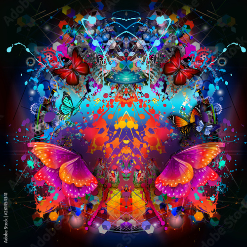 abstract, art, artwork, backdrop, background, beautiful, bright, butterflies, colorful, creative, decorative, design, futuristic, graphic, illusion, illustration, insects, modern, original, ornament,
