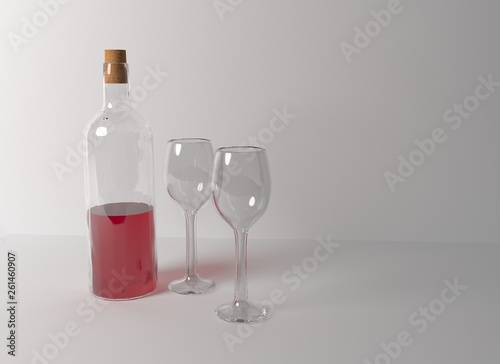 Foto op Canvas Alcohol glass and bottle of wine isolated on a white background