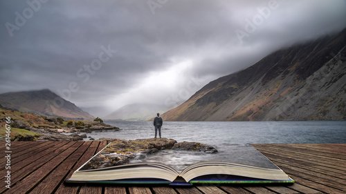 Deurstickers Grijs Stunning long exposure landscape image of Wast Water in UK Lake District coming out of pages in story book