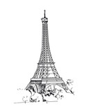 Fototapeta Fototapety z wieżą Eiffla - Eiffel Tower, Paris, France. Vector sketches hand drawn