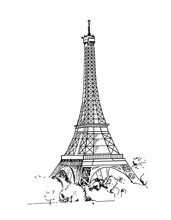 Eiffel Tower, Paris, France. Vector Sketches Hand Drawn