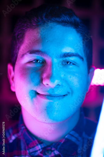 Fototapety, obrazy: portrait of a man, colorful lighting