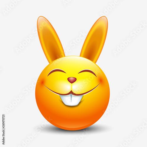 Cute Easter bunny emoticon, emoji