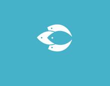 Creative Blue Logo Icon Fish Silhouette For Company