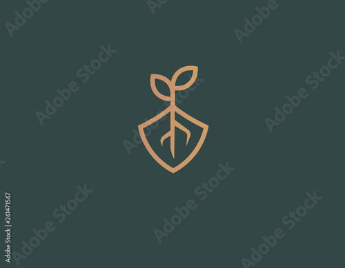 Tablou Canvas Abstract logo icon plant roots and shield nature conservation