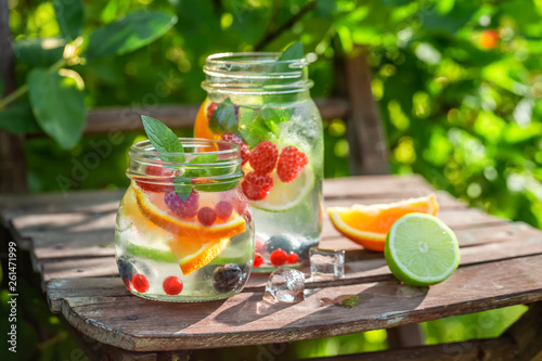 Closeup of lemonade with mix of fruits in summer