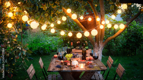 Preparation for supper with snacks and wine in the evening - 261472368