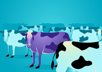 Purple cow stand out from o...