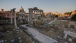 A view of Roman Forum in Rome at sunny summer day
