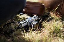 Detail Of An Old Camera In The Middle Of The Grass