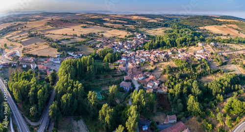 Panoramic aerial view of Sejas village and road in Zamora