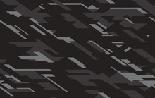 Camouflage Black, Dark Gray And Cray Colours Seamless Pattern. Vector Illustration