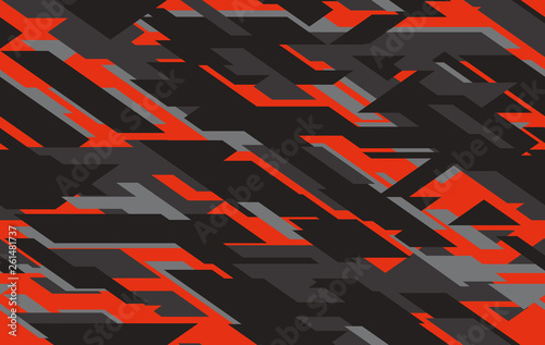 Fotografía  Seamless fashion dark gray and red hunting camo pattern vector