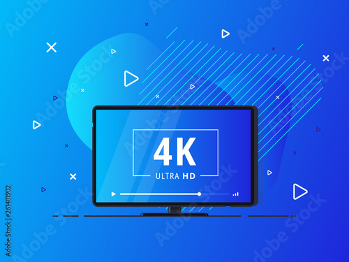 Modern Abstract Screen Tv With 4k Ultra Hd Video Technology