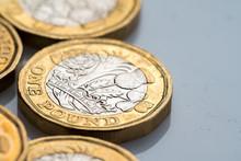 New British One Pound Coin In Studio