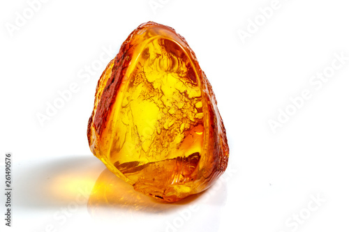 Tableau sur Toile Macro stone mineral amber with insects, flies and beetles on a white background