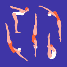Set Of Women In Swimwear In Various Poses. Jumping Into The Water And Swimming In The Pool. Water Sports. Vector Flat Illustration