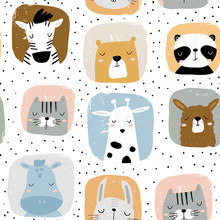 Seamless Childish Pattern With Funny Hand Drawn Animals Portreits . Creative Scandinavian Kids Texture For Fabric, Wrapping, Textile, Wallpaper, Apparel. Vector Illustration