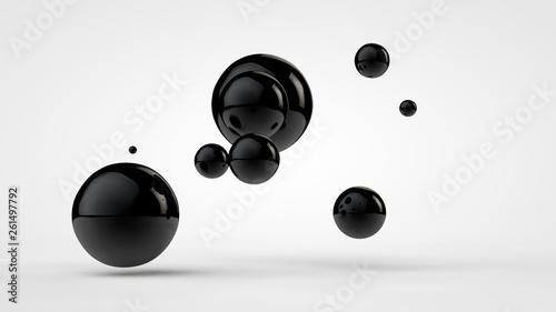 Fotografía  3D image of black balls in space