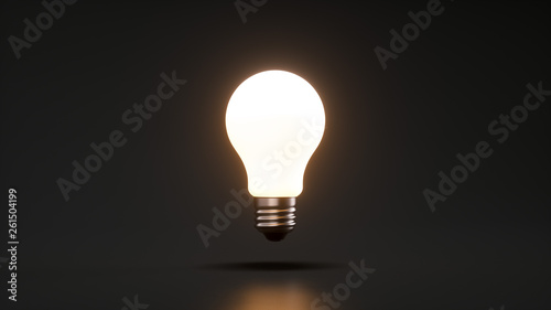 light bulb on black background Fototapeta