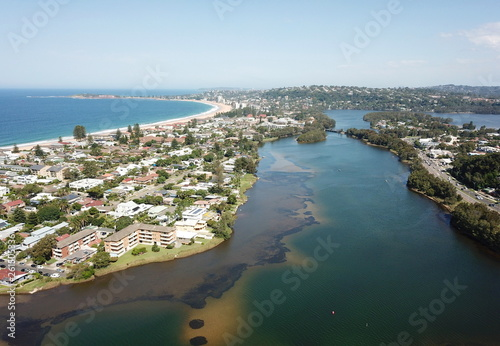 Aerial view of Narrabeen Lake, Narrabeen Beach, Collaroy Beach and Long Reef Head Canvas Print