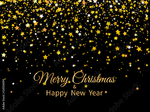 2020 merry christmas and happy new year golden stars and text on dark background new year 2020 greeting card buy this stock vector and explore similar vectors at adobe stock adobe stock adobe stock