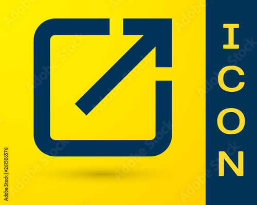 Blue Open in new window icon isolated on yellow background Canvas Print