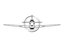 Fighter Airplane Front View Vector Illustration
