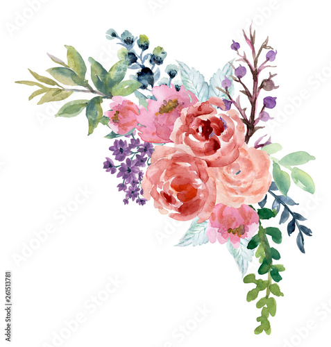 Stampa su Tela Watercolor vintage floral rose sunflower peony Gerbera and abstact flower or lea