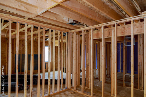 Fotografie, Obraz  Interior framing beam of new house under construction home framing