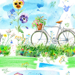 Panel Szklany Wiejski Seamless pattern of a bicycle,field, flowers and sky.Rural background.Watercolor hand drawn illustration.