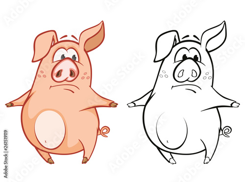 Foto auf AluDibond Babyzimmer Vector Illustration of a Cute Cartoon Character Pig for you Design and Computer Game. Coloring Book Outline Set