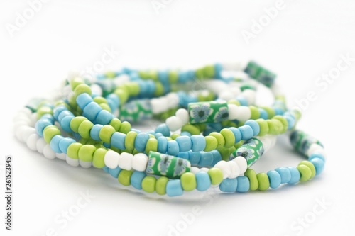 Glass Beads Jewelry Set on White   Background, Isolated Beads on White   Backgro Wallpaper Mural