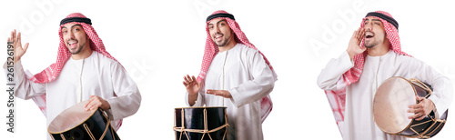 Canvas-taulu Arab man with drum isolated on white
