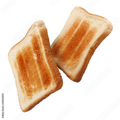 Fotomural Fresh roasted toasts, isolated on white background