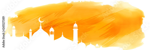 Fotografía yellow watercolor islamic banner with mosque design