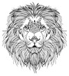 The head of a lion with a big mane. Meditative coloring of antistress. Arrows, strips, scales, lines. Logo, print on the shirt. Background for text