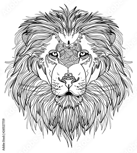 Deurstickers Hand getrokken schets van dieren The head of a lion with a big mane. Meditative coloring of antistress. Arrows, strips, scales, lines. Logo, print on the shirt. Background for text