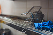 fryer for potatoes with boiling oil. Clean kitchen. Koncept fast food restaurant, equipment. banner.