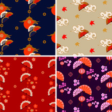 Japanese Pattern Set. Chinese And Japanese Seamless Ornaments. Oriental Traditional Texture