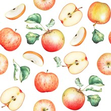 Seamless Pattern With Watercolor Red Apples And Leaves