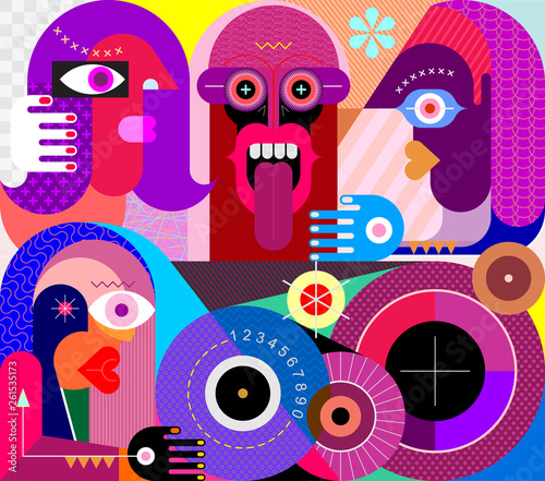 Staande foto Abstractie Art Four People Portrait vector illustration