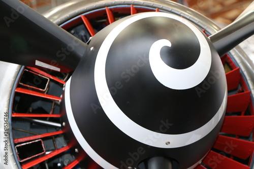 Teil eines Flugzeug-Propellers, Propeller-Flugzeug Fototapet