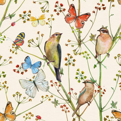Panel Szklany Ptaki vintage nature seamless texture with birds and butterflies. watercolor painting