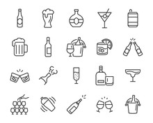 Set Of Alcohol Icons, Such As ...