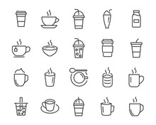 Set Of Coffee Icons, Such As T...
