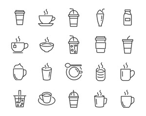 set of coffee icons, such as tea, drinks, cocoa, cup, cafe