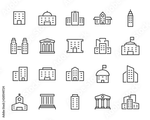 Obraz na plátně set of building icons, such as city, apartment, condominium, town